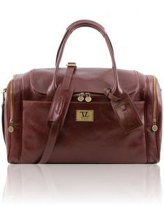TL VOYAGER TL141296 Travel leather bag with side pockets - Borsone viaggio in pelle con tasche laterali - Tuscany Leather