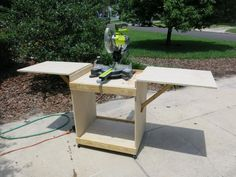 DIY Miter Saw Cart - Used 2X2s to support the wings. Could I use drop down legs instead?