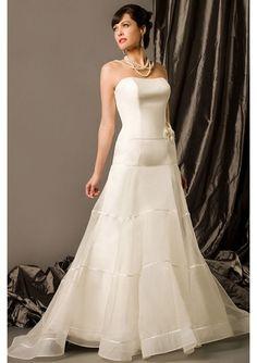 Silk Organza Strapless Beautiful ribbon trim and flower Chapel Train Ball Gown Wedding Dress
