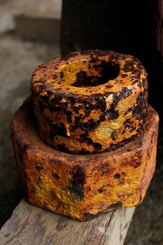 Rusted Yellow by HelC, Years of rust has made interesting patterns on these huge nuts