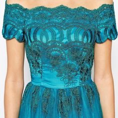 Chi Chi London Teal Turquoise Princess Dress Perfect brand new condition. Retails for over 100. The size says US6 but it fits more like a 2. The bust is quite narrow. New with tags. Medium length. Not as long as their long gowns and not as short as their short ones. Bright turquoise/teal, gorgeous lace. Dreamy princess dress!! Feel free to make an offer!  ModCloth Dresses Prom