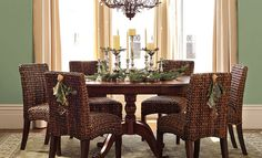 Pottery Barn Kirkwood Pedestal Dining Table and Seagrass Chairs Large Console Table, Pedestal Dining Table, Dining Chairs, Dining Rooms, Wicker Chairs, Dining Area, Rattan, Home Furniture, Outdoor Furniture Sets