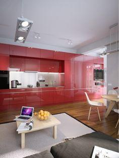 Sleek red kitchen