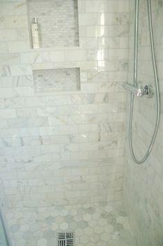 All same tile, Calcutta hex on floor, subway on walls, mini bricks in niche... #bathroomideas #homedecor #interiors