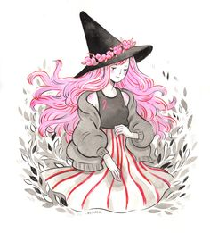 Inktober day 14, Pink Ribbon Witch It's Pink Ribbon Day today here in Finland. I'm putting up some of my Inktober originals in my shop in three hours at 10pm Finnish time (UTC +2:00). All profits from this original illustration will be donated to the...