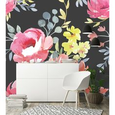 Bungalow Rose Macias Removable Spring Flowers L x W Peel and Stick Wallpaper Roll Watercolor Floral Wallpaper, Colorful Wallpaper, Flower Wallpaper, Peel And Stick Wallpaper, Wallpaper Roll, Wall Wallpaper, Adhesive Wallpaper, Wall Patterns, Dark Backgrounds