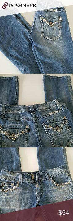 """Miss Me Straight Jeans # JP4449 Blue jeans with embellished with silver hearts and stars , new condition, distressed and low-rise, inseam 35"""" waist 32"""" straight Miss Me Jeans Boot Cut"""