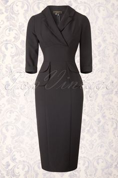 "This elegant 50s Benoit Pencil Dress in Black by Stop Staring! is perfect for any occasion!''Little black dress, making heads turn, can't stop looking at you..!'' Fitted top featuring a wide fold over collar, playful wrap over detail and 3/4 sleeves with fold overs. The fixed tie straps at the back will give you a beautifully defined waist and the flattering rushes will mask any tummy flaws. The skirt hugs your curves and hits just below the knee with a height of 1.69m / 5'6"",..."