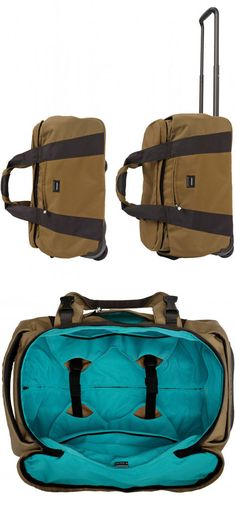 Appears to be lots of storage capacity. Plus I like the color combination here. Duffle Bag With Wheels, Short Break, Carry On Luggage, Business Travel, Magazine Design, Briefcase, Geeks, Travel Bags, Wanderlust