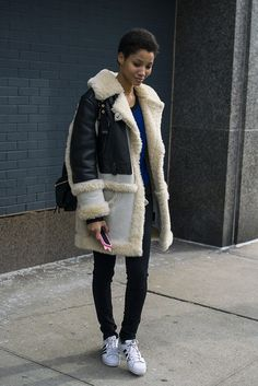 Lineisy Montero, really going for broke in shearling at New York Fashion Week 2916