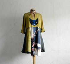 Image of Women's Cat Shirt Green Rustic Dress Long Length Patchwork Top Lagenlook Tunic Mixed Fabric XL/1X