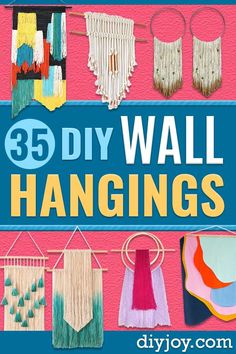 DIY Wall Hangings - Easy Yarn Projects , Macrame Ideas , Fabric Tapestry and Paper Arts and Crafts , Planter and Wood Board Ideas for Bedroom and Living Room Decor - #diy #homedecor #wallart #crafts Easy Art Projects, Yarn Projects, Crafty Projects, Diy Blanket Ladder, Crafts To Make And Sell, Sell Diy, Mason Jar Crafts, Simple Art, Diy Wall