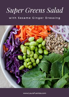 Super Green Kale Salad with Sesame Ginger Dressing- Delicious salad recipe that is perfect for entertaining guest or bringing to the office for lunch. Best Lunch Recipes, Healthy Salad Recipes, Real Food Recipes, Fast Dinners, Quick Meals, Sesame Ginger Dressing, Green Kale, Super Greens, Tasty