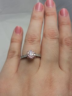 barely pink OEC engagement ring. Joseph Schubach Jewelers