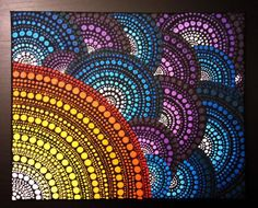 Dot Painting Original brush made art. Acrylic on canvas. Size: 30x24x2cm (12x9x0.7). No framing required. Canvas stretched on blind frame. Stretcher frame, edges wrapped around the back, painted black. Signed by Anna Kep on the back. Medium:Acrylic Domination colors: Blue, green, red, orange, yellow. SHIPPING: Packages are mailed within 1-2 days after receiving the payment. Thank you for your interest in my shop. Molacek.