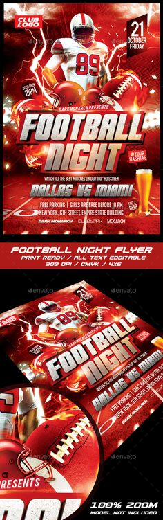 Flyer Football Template V1 Event flyers, Print templates and Fonts