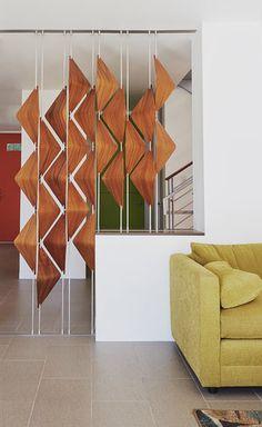 Walnut Window Shades — e l i s h w a r l o p Wood Partition, Living Room Partition Design, Living Room Tv Unit Designs, Room Partition Designs, Dressing Table Design, Space Dividers, Divider Design, Fancy Houses, Home Organization Hacks