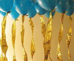 Helium balloons with foil ribbon streamers......Thinking outside the box and dressing up any balloon.