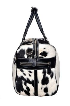Authentic Black & White Cowhide Leather Overnight Duffle Bag