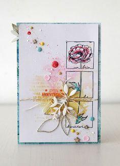 Bonjour à toutes, C'est Gaëlle Aujourd'hui je viens vous proposer une carte d'anniversaire printanière, colorée et gaie, que...