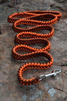 Paracord Leash, Clip Leash, Orange and Brown Leash