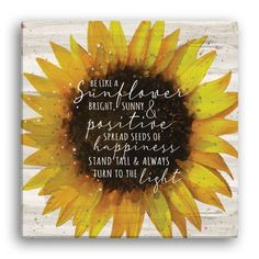 Foster blossoming self-esteem with this sunflower wood plaque for your little one! Gorgeously vibrant, this captivating canvas features an eye-catching design with a motivational message inside the blooming sunflower. Makes a wonderful gift for the shining young lady in your life! Personalized Planet is a leading online retailer specializing in personalized gifts for special occasions, holidays, and celebrations. Our wide selection of customized productions makes excellent gift ideas for birthda Blooming Sunflower, Sunflower Canvas, Sunflower Quotes, Motivational Messages, Inspirational Quotes, Personalized Wall Art, Personalized Gifts, Kids Beach Towels, Grandparent Gifts