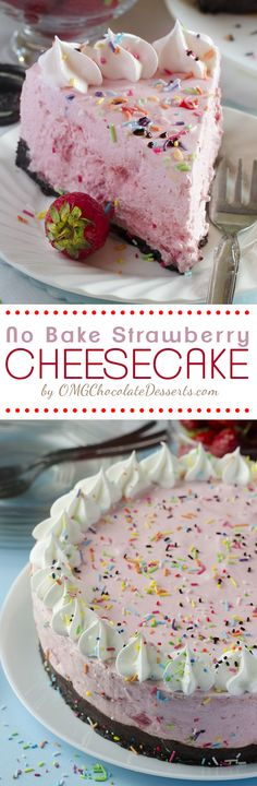 No Bake Strawberry Cheesecake - easy, light, and fluffy no-bake cheesecake has a delightful strawberry and yummy Oreo crust | OMGChocolateDesserts.com