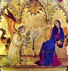 "detail of ""The Annunciation"" by Simone Martini, born in Siena. a golden dazzle ! the most beautiful ""Annunciation"", timeless masterpiece of Simone Martini, since Middle Ages. Renaissance Artworks, Renaissance Kunst, Madonna, Galerie Des Offices, Giorgio Vasari, Medieval Paintings, Italian Paintings, Italian Artist, Medieval Art"