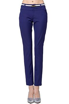 Christi Womens Relaxed Fit Plain Front Straight Legging Pants XS Blue ** More info could be found at the image url.