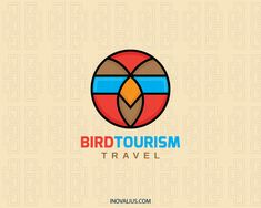 Bird Tourism is a circular logo composed of a bird head with glasses. Colors used are orange, brown, blue and black.(travel, bird, cinema, glasses, pet shop, mascot, children, preschool, digital media, digital print, game, tourism, tourism industry, department, airline tickets, logo for sale, logo design, logo, logotipo).