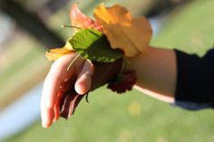 This is nature exploration activity  with 2-3 yr olds. Make a Duct tape bracelet, sticky side out and let them stick leaves, flowers,...etc to it.  Makes a nature bracelet.