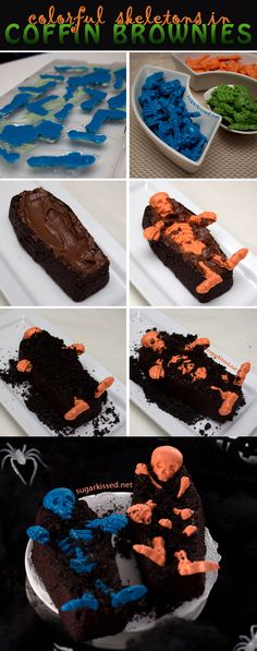 How To Make Colorful Skeleton Coffin Brownies for Halloween