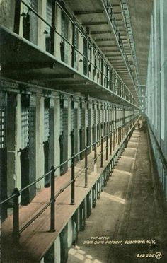 Sing Sing cells, vintage prison postcard: Correctional Officer class had to walk in front of cells. Offenders were yelling look what we have Grandma and Grandpa I sure am scared now. It was funny I could not help as I walked by. Tried to keep from laughing or smiling. Jade G.