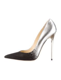 Jimmy Choo black matte and silver #shoes #heels