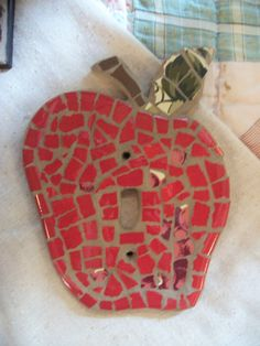 Mosaic light switch plate apple switch plate apple decor. $15.00, via Etsy.