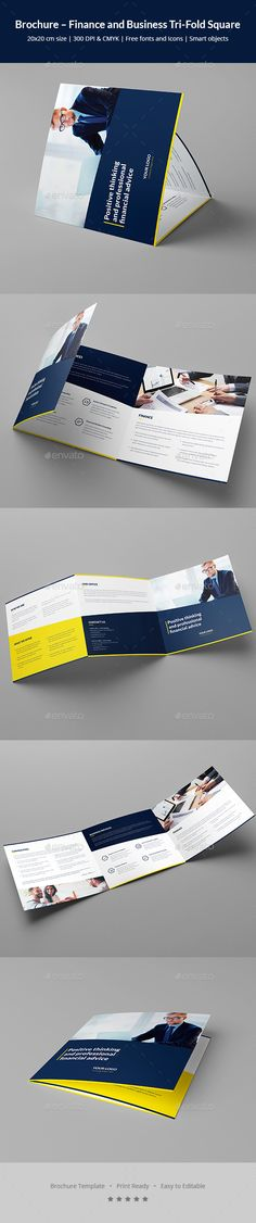 Finance and Business Tri-Fold Square Brochure Template PSD