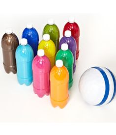 bowling the rainbow  ~ paint the inside of soda bottles