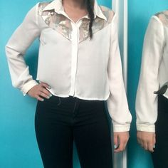 Off white Crop Top Sequenced top (pink, tan, silver). Leather collar and cuffed sleeves. Great with high waisted jeans! Only worn twice! Forever 21 Tops Crop Tops