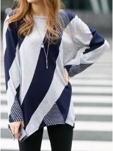 nice Chic Scoop Neck Long Sleeve Color Block Loose-Fitting T-Shirt For Women Casual T Shirts, Casual Outfits, Future Clothes, Plain Dress, Dress Silhouette, Sammy Dress, Blouse Styles, Cute Tops, Sweater Hoodie