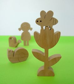 Wooden toy - flower-girl - a girl, a flower, a watering can, a snail and a bee - Garden Love - eco friendly