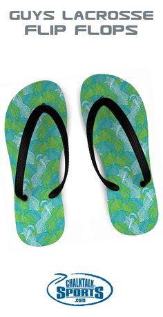 These lacrosse flip flops with a palm tree and lacrosse stick design are the ideal warm weather footwear for any player, fan, or coach.