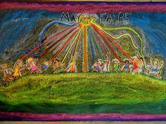 May ~ Ribbons & Bells ~ May Pole Dance ~ chalkboard drawing