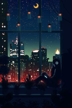 'A Quiet Night' Art Print by Ronald Kuang Animes Wallpapers, Cute Wallpapers, Wallpaper Wallpapers, Iphone Wallpaper, Aesthetic Anime, Aesthetic Art, Arte 8 Bits, Japon Illustration, Night Illustration