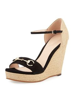 Carolina+Suede+Espadrille+Wedge+Sandal,+Black+by+Gucci+at+Neiman+Marcus.