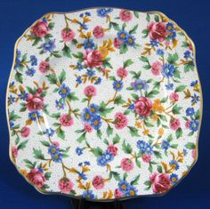 Royal Winton Grimwades Old Cottage Chintz Square Side Plate Bread Cake 1995 Reissue Pink Blue Floral