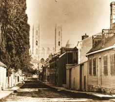Montreal 1860. St. Urbain> South since Lagauchetiere Street / W.Notman.    This document comes from the McCord Museum Archives.  1860, a beautiful view of the Saint-Urbain Street looking south. Dirt road lined with poplars Lombardy, boardwalks, residences, some shops with one or two floors. Old Montreal, Montreal Ville, Montreal Quebec, Quebec City, Vintage Pictures, Old Pictures, Old Photos, Photo Vintage, Good Old Times