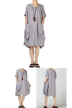 b5d9b2e6ab Mordenmiss Women s Summer Roll-up Sleeve Baggy Dress with Pockets