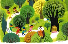 """Elves in the Forest,"" poster from '60s artist Alain Grée.  Available at the Anorak magazine shop."