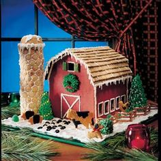 "Gingerbread Barn Recipe -We came up with the ""plans"" for this Christmas gingerbread barn"