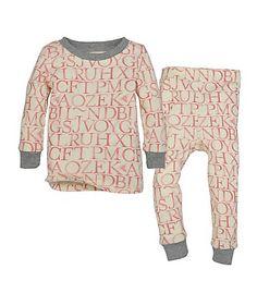"Burt's Bees Baby Infant Organic Watercolor A ""Bee"" C Tee & Pant Pajama Set in Chrysanthemum"